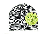 Black White Zebra Print Hat with Green Large Geraniums