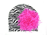 Black White Zebra Print Hat with Hot Pink Large Curly Marabou