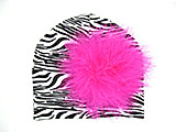 Black White Zebra Print Hat with Hot Pink Large regular Marabou