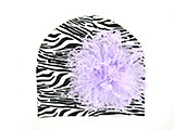 Black White Zebra Print Hat with Lavender Large Curly Marabou