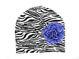 Black White Zebra Print Hat with Lavender Large Geraniums
