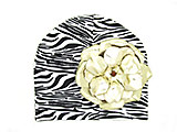 Black White Zebra Print Hat with Metallic Gold Rose