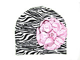 Black White Zebra Print Hat with Metallic Pale Pink Rose