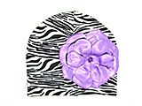 Black White Zebra Print Hat with Metallic Purple Rose