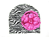Black White Zebra Print Hat with Metallic Raspberry Rose