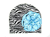Black White Zebra Print Hat with Metallic Teal Rose
