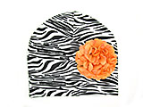 Black White Zebra Print Hat with Orange Large Geraniums