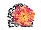 Black White Zebra Print Hat with Orange Raspberry Large Peony