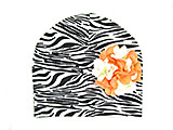 Black White Zebra Print Hat with Orange White Large Geraniums