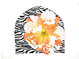 Black White Zebra Print Hat with Orange White Large Peony