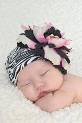 Black White Zebra Print Hat with Pink Black Large Peony