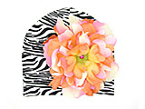 Black White Zebra Print Hat with Pink Orange Large Peony