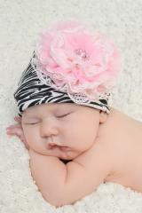 Black White Zebra Print Hat with Pale Pink Lace Rose
