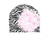 Black White Zebra Print Hat with Pale Pink Large Curly Marabou