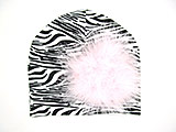Black White Zebra Print Hat with Pale Pink Large regular Marabou