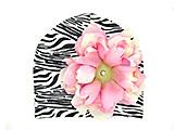 Black White Zebra Print Hat with Pale Pink Large Peony