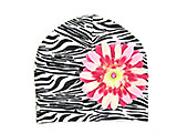 Black White Zebra Print Hat with Pink Raspberry Daisy