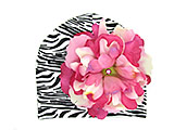 Black White Zebra Print Hat with Pink Raspberry Large Peony