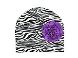 Black White Zebra Print Hat with Purple Large Geraniums