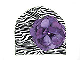 Black White Zebra Print Hat with Purple Large Rose