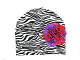 Black White Zebra Print Hat with Purple Raspberry Large Geraniums