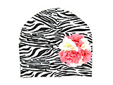 Black White Zebra Print Hat with Pink White Large Geraniums