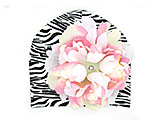 Black White Zebra Print Hat with Pink White Large Peony