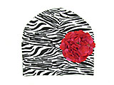 Black White Zebra Print Hat with Raspberry Large Geraniums