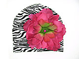 Black White Zebra Print Hat with Raspberry Large Peony