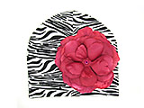 Black White Zebra Print Hat with Raspberry Large Rose