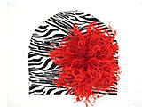 Black White Zebra Print Hat with Red Large Curly Marabou