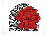 Black White Zebra Print Hat with Red Large Peony