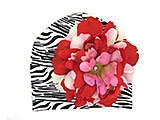 Black White Zebra Print Hat with Red Pink Large Peony
