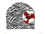 Black White Zebra Print Hat with Red White Large Geraniums