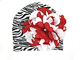 Black White Zebra Print Hat with Red White Large Peony