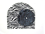 Black White Zebra Print Hat with Sequins Black Rose