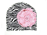 Black White Zebra Print Hat with Sequins Pale Pink Rose