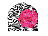 Black White Zebra Print Hat with Sequins Raspberry Rose