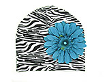 Black White Zebra Print Hat with Teal Daisy