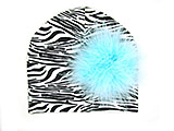 Black White Zebra Print Hat with Teal Large regular Marabou