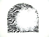 Black White Zebra Print Hat with White Large Curly Marabou