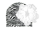 Black White Zebra Print Hat with White Large Peony