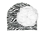 Black White Zebra Print Hat with White Large Rose