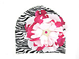 Black White Zebra Print Hat with White Raspberry Large Peony