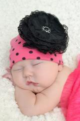 Candy Pink Black Dot Print Hat with Black Lace Rose