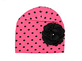 Candy Pink Black Dot Print Hat with Black Large Geraniums