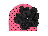 Candy Pink Black Dot Print Hat with Black Large Peony