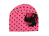 Candy Pink Black Dot Print Hat with Black Raspberry Large Geraniums
