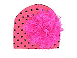 Candy Pink Black Dot Print Hat with Hot Pink Large Curly Marabou