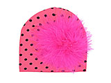 Candy Pink Black Dot Print Hat with Hot Pink Large regular Marabou